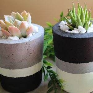 Set of 2 cement pots pic 1